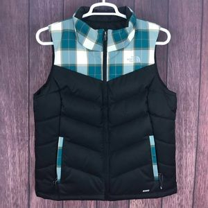 The North Face 550 Vest Black Teal Puffer Large